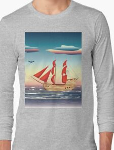 Old sailing ship on the open ocean at sunset 2 Long Sleeve T-Shirt
