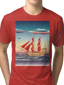 Old sailing ship on the open ocean at sunset 2 Tri-blend T-Shirt