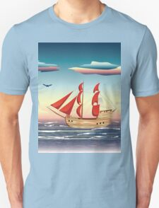 Old sailing ship on the open ocean at sunset 2 T-Shirt