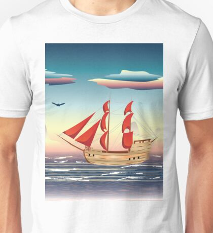 Old sailing ship on the open ocean at sunset 2 Unisex T-Shirt