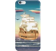 Old sailing ship on the open ocean at sunset 3 iPhone Case/Skin