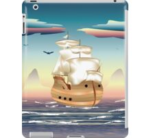 Old sailing ship on the open ocean at sunset 3 iPad Case/Skin