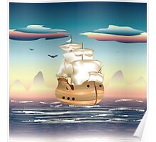 Old sailing ship on the open ocean at sunset 3 Poster