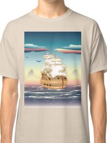 Old sailing ship on the open ocean at sunset 3 Classic T-Shirt