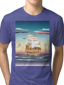 Old sailing ship on the open ocean at sunset 3 Tri-blend T-Shirt
