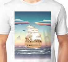 Old sailing ship on the open ocean at sunset 3 Unisex T-Shirt