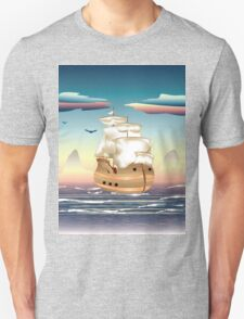 Old sailing ship on the open ocean at sunset 3 T-Shirt