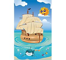 Wooden Ship in the Sea Photographic Print