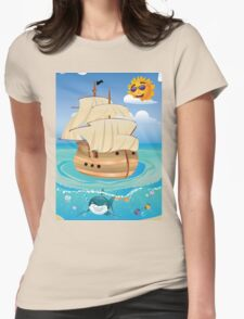 Wooden Ship in the Sea Womens Fitted T-Shirt