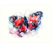 Butterfly painted in watercolors Art Print