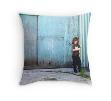 Boy Alone Throw Pillow