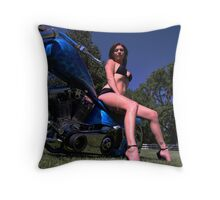 Brie On Ole Blue Throw Pillow