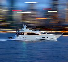 Motor Boat in motion by Zaven Jordan