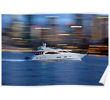 Motor Boat in motion Poster