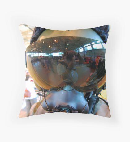 Modern Fighter Pilots Helmet Throw Pillow
