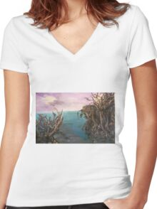 Walking on water Women's Fitted V-Neck T-Shirt