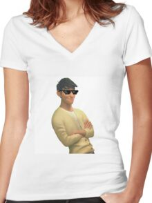 transparent tadashi hamada with swag Women's Fitted V-Neck T-Shirt