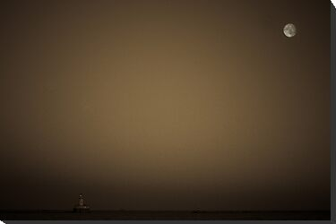 Lighthouse and Moon by David Eastham