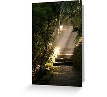 shafts of sunlight in the gloom Greeting Card
