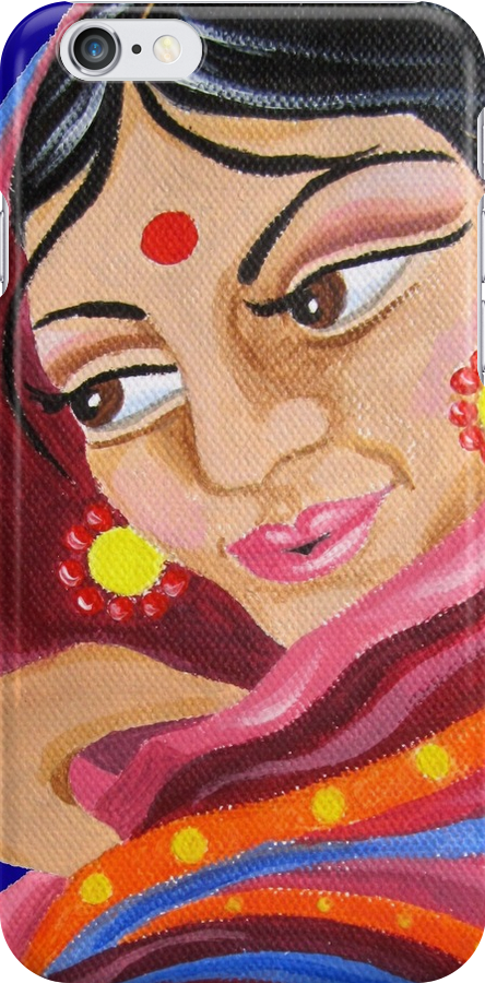 Hindu Woman Acrylic Painting by Almonda