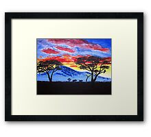African sunset painting Framed Print