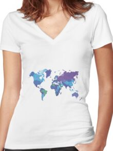 World Map Colourful Women's Fitted V-Neck T-Shirt