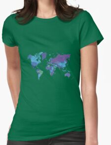 World Map Colourful Womens Fitted T-Shirt