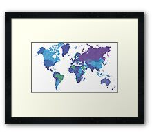 World Map Colourful Framed Print