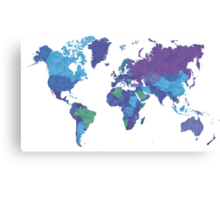 World Map Colourful Canvas Print
