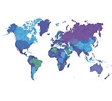 World Map Colourful Photographic Print