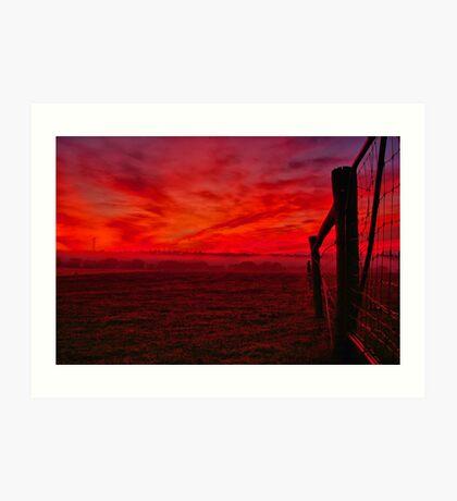 """Red Dawn at Shelford"" Art Print"