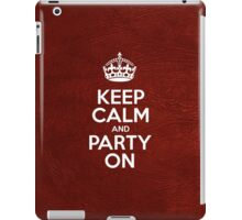 Keep Calm and Party On - Glossy Red Leather iPad Case/Skin