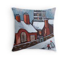 English village snowscene Throw Pillow