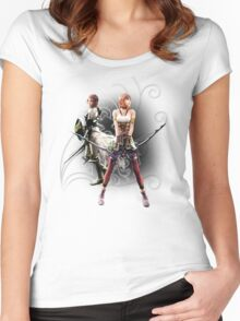 Final Fantasy XIII-2 - Lightning (Claire Farron) and Serah Farron Women's Fitted Scoop T-Shirt