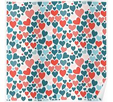 Funny hearts pattern Poster