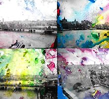 London Skyline View Painting - Ink & Watercolor/Watercolour by zenbear