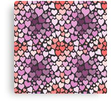 Abstract lilac hearts pattern Canvas Print