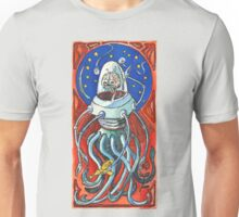 Susan - Alien Floating Brain Robot Holding Ray Gun from Hand-Colored Linocut Print Original Unisex T-Shirt