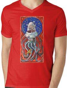 Susan - Alien Floating Brain Robot Holding Ray Gun from Hand-Colored Linocut Print Original Mens V-Neck T-Shirt
