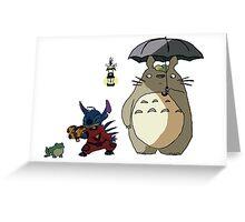 Totoro and Stitch mash-up! Greeting Card