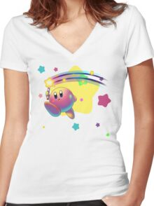 Kirby Super Star Rod Women's Fitted V-Neck T-Shirt