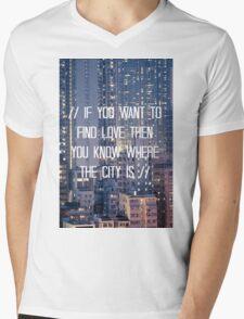 The City - WHITE Mens V-Neck T-Shirt