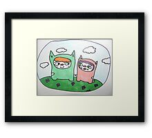 Monster cat love! Framed Print