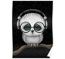 Baby Owl Dj with Headphones and Glasses Poster
