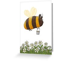 Bumble Bear with honey flies home Greeting Card