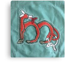 Celtic Fox Letter M Embroidery Canvas Print