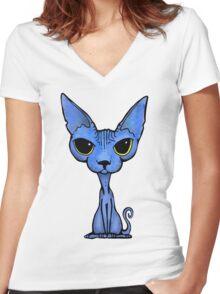 Blue Sphynx Women's Fitted V-Neck T-Shirt