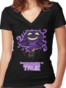 Creepypasta Ghost (with Text) Women's Fitted V-Neck T-Shirt
