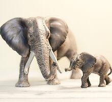Mama and Baby Elephant by Debbra Obertanec