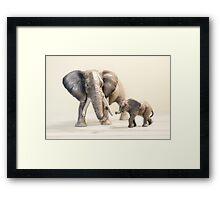 Mama and Baby Elephant Framed Print